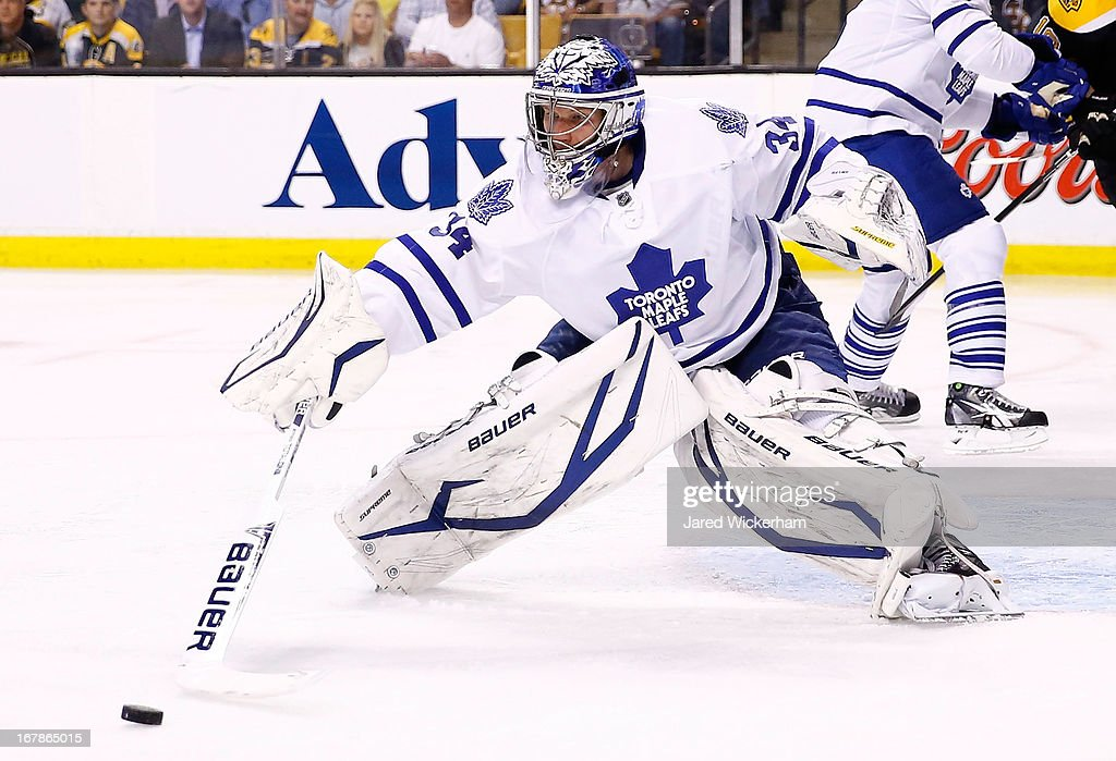 James Reimer #34 of the Toronto Maple Leafs makes a stick save against the Boston Bruins in the third period in Game One of the Eastern Conference Quarterfinals during the 2013 NHL Stanley Cup Playoffs on May 1, 2013 at TD Garden in Boston, Massachusetts.