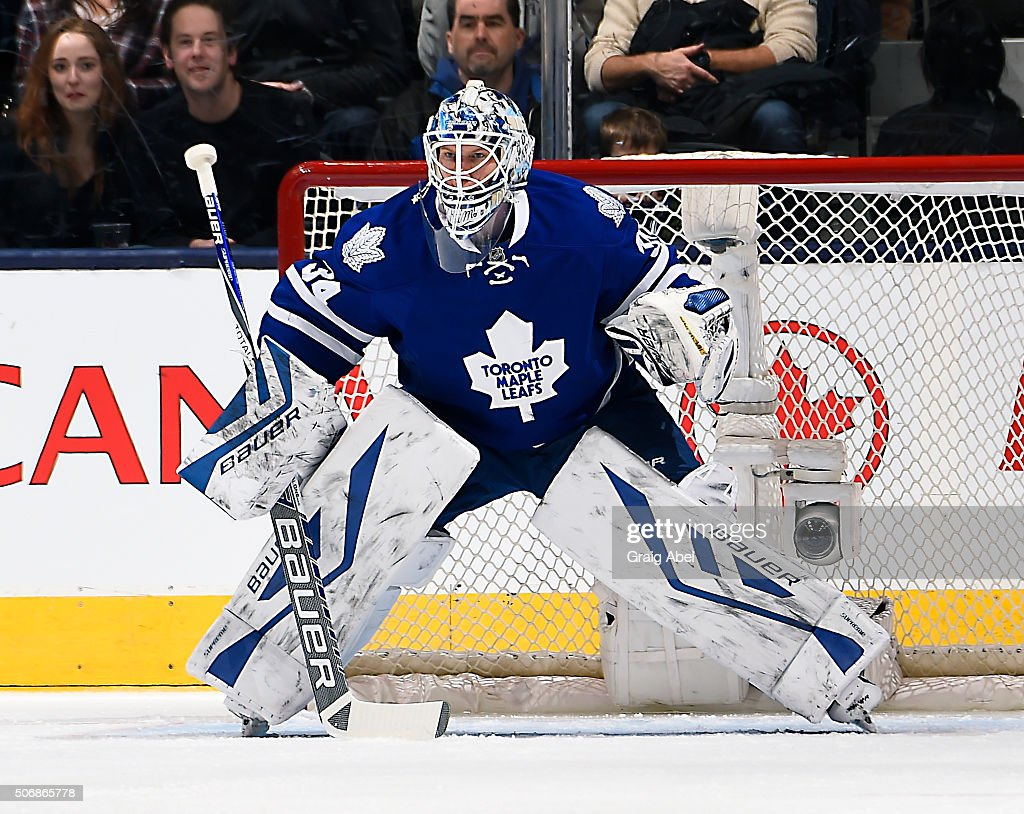 <a gi-track='captionPersonalityLinkClicked' href=/galleries/search?phrase=James+Reimer+-+Hockey+Player&family=editorial&specificpeople=7543302 ng-click='$event.stopPropagation()'>James Reimer</a> #34 of the Toronto Maple Leafs prepares for a shot against the Carolina Hurricanes during game action on January 21, 2016 at Air Canada Centre in Toronto, Ontario, Canada.