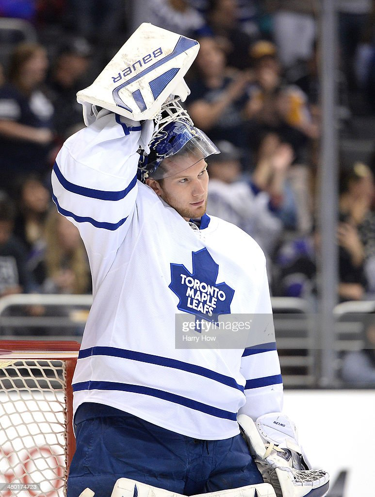 James Reimer #34 of the Toronto Maple Leafs prepares to play during the game against the Los Angeles Kings at Staples Center on March 13, 2014 in Los Angeles, California.