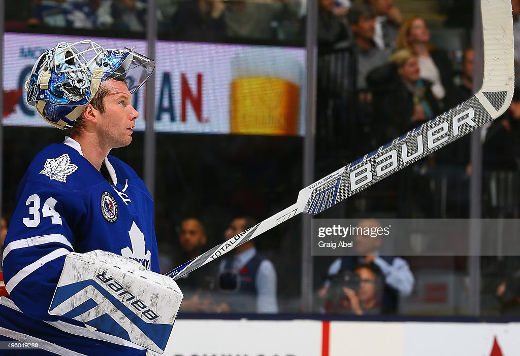 <a gi-track='captionPersonalityLinkClicked' href=/galleries/search?phrase=James+Reimer+-+Hockey+Player&family=editorial&specificpeople=7543302 ng-click='$event.stopPropagation()'>James Reimer</a> #34 of the Toronto Maple Leafs reacts after first period goal against the Detroit Red Wings during NHL game action on November 6, 2015 at Air Canada Centre in Toronto, Ontario, Canada.