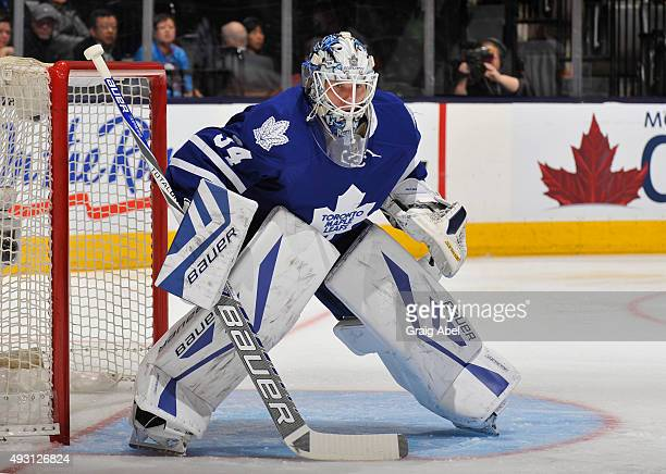 James Reimer of the Toronto Maple Leafs skates defends the goal NHL game action against the Ottawa Senators October 10 2015 at Air Canada Centre in...