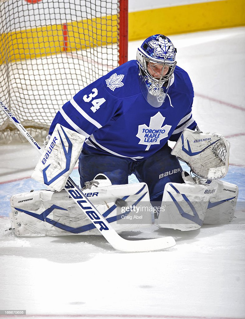 James Reimer #34 of the Toronto Maple Leafs skates during warm up prior to NHL game action against the New Jersey Devils April 15, 2013 at the Air Canada Centre in Toronto, Ontario, Canada.