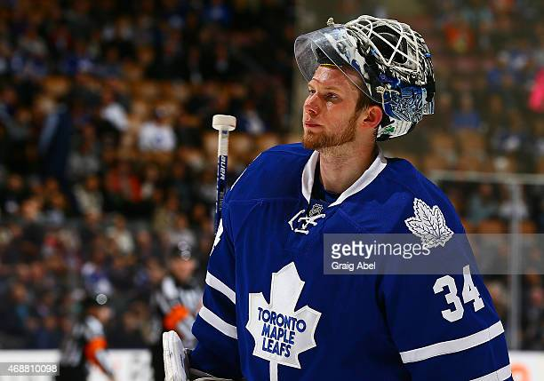 James Reimer of the Toronto Maple Leafs skates to the net against the Tampa Bay Lightning during game action on March 31 2015 at Air Canada Centre in...