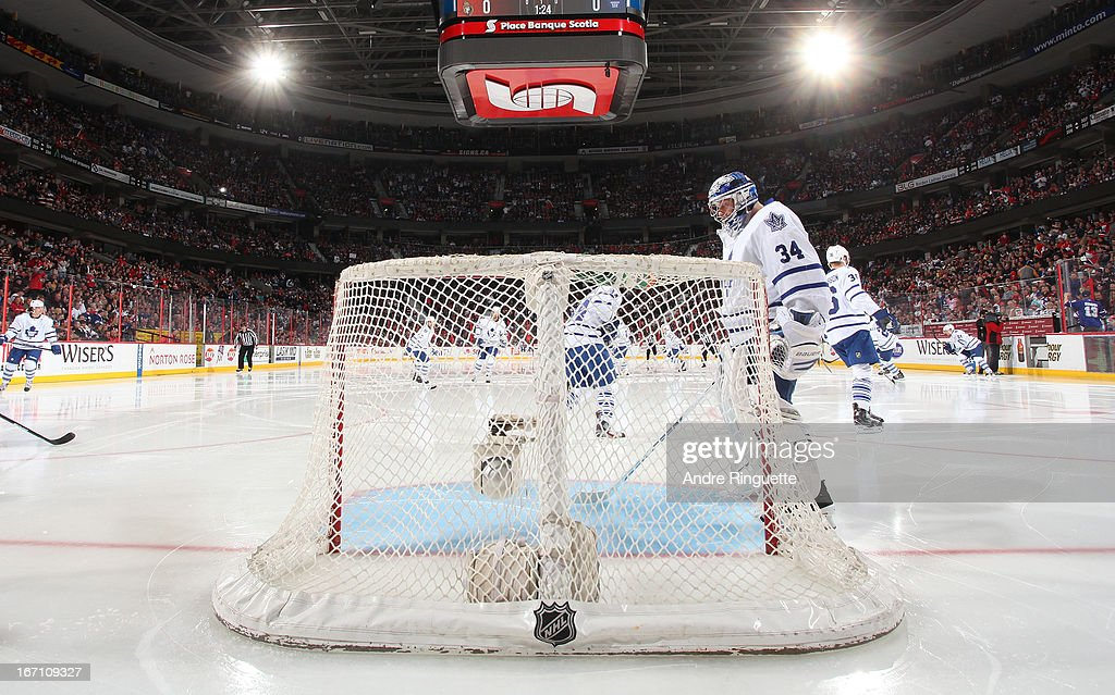 James Reimer #34 of the Toronto Maple Leafs stands in front of his net in preparation of his start against the Ottawa Senators on April 20, 2013 at Scotiabank Place in Ottawa, Ontario, Canada.