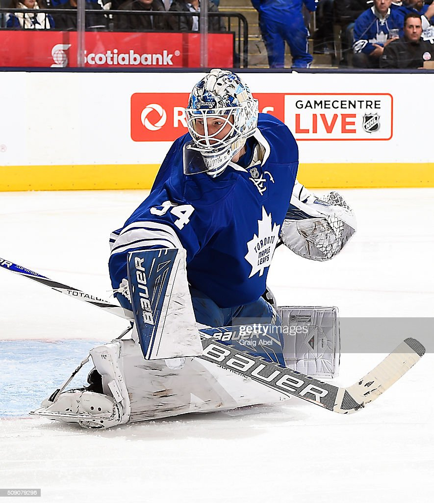 <a gi-track='captionPersonalityLinkClicked' href=/galleries/search?phrase=James+Reimer+-+Hockey+Player&family=editorial&specificpeople=7543302 ng-click='$event.stopPropagation()'>James Reimer</a> #34 of the Toronto Maple Leafs stops a shot against the New Jersey Devils during game action on February 4, 2016 at Air Canada Centre in Toronto, Ontario, Canada.