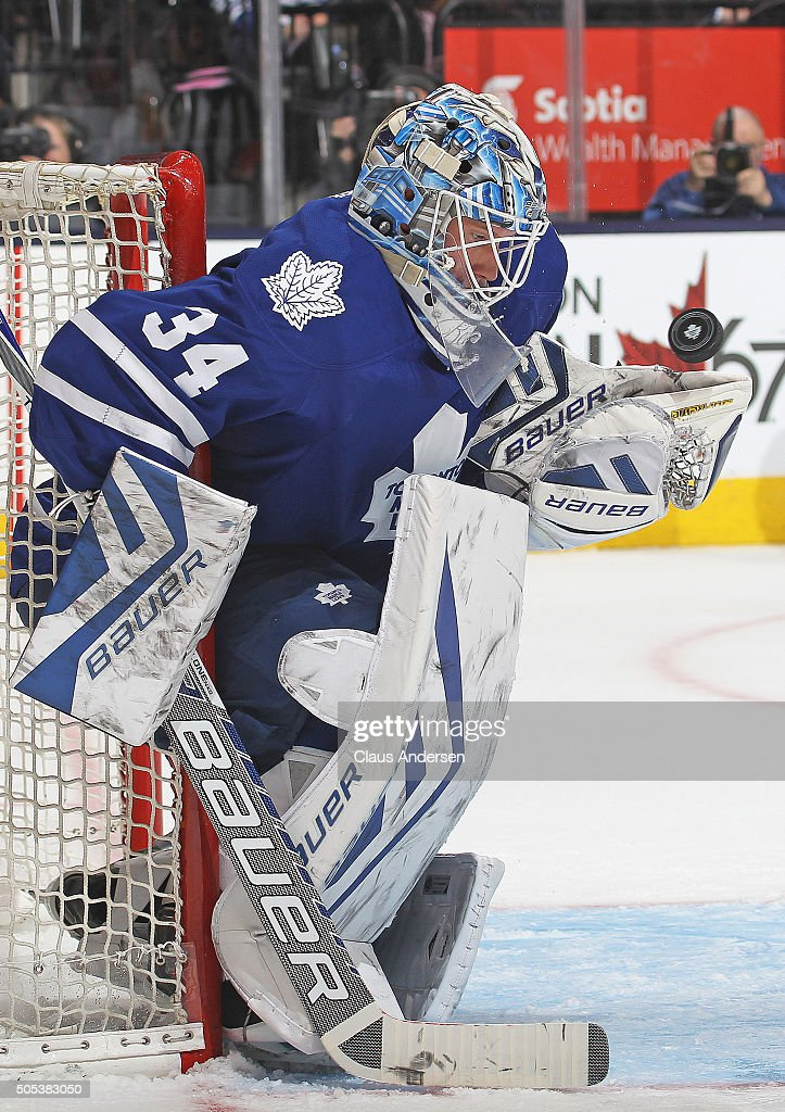 <a gi-track='captionPersonalityLinkClicked' href=/galleries/search?phrase=James+Reimer+-+Hockey+Player&family=editorial&specificpeople=7543302 ng-click='$event.stopPropagation()'>James Reimer</a> #34 of the Toronto Maple Leafs stops a shot against the Chicago Black Hawks during an NHL game at the Air Canada Centre on January 15, 2016 in Toronto, Ontario, Canada. The Black Hawks defeated the Maple leafs 4-1.