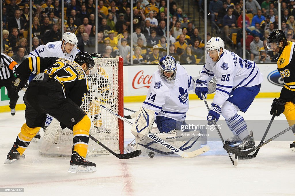 James Reimer #34 of the Toronto Maple Leafs stops the puck against the Boston Bruins in Game Seven of the Eastern Conference Quarterfinals during the 2013 NHL Stanley Cup Playoffs at TD Garden on May 13, 2013 in Boston, Massachusetts.