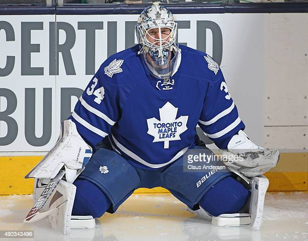 James Reimer of the Toronto Maple Leafs stretches during the warmup prior to play against the Ottawa Senators in an NHL game at the Air Canada Centre...