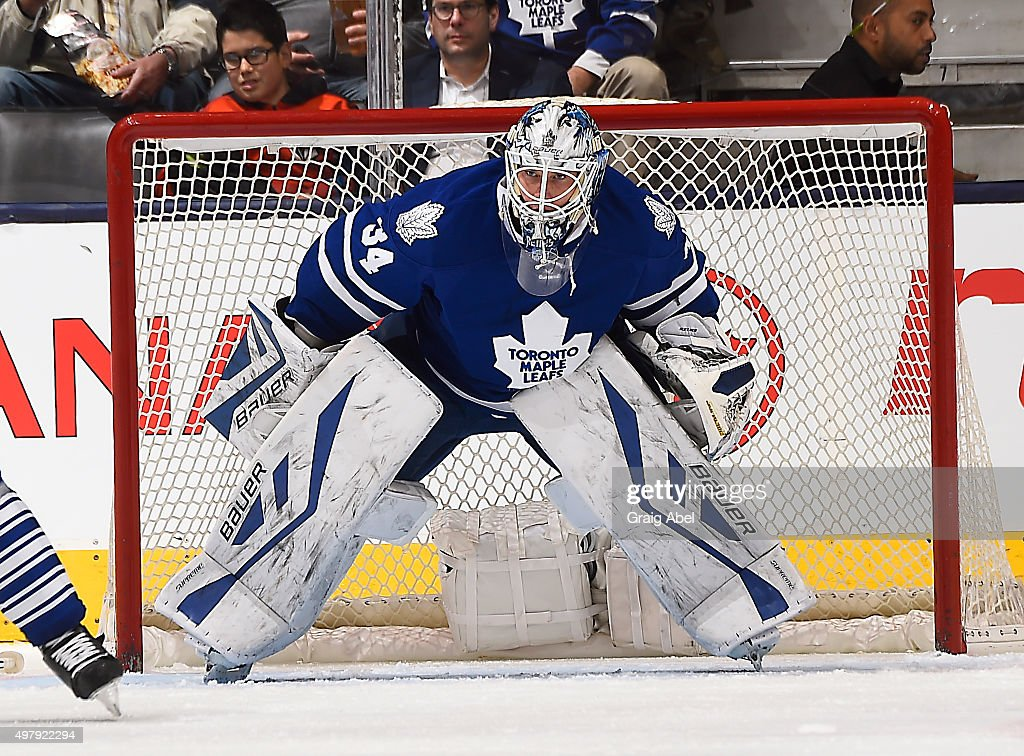 <a gi-track='captionPersonalityLinkClicked' href=/galleries/search?phrase=James+Reimer+-+Joueur+de+hockey&family=editorial&specificpeople=7543302 ng-click='$event.stopPropagation()'>James Reimer</a> #34 of the Toronto Maple Leafs watches the play develop against the Colorado Avalanche during game action on November 17, 2015 at Air Canada Centre in Toronto, Ontario, Canada.