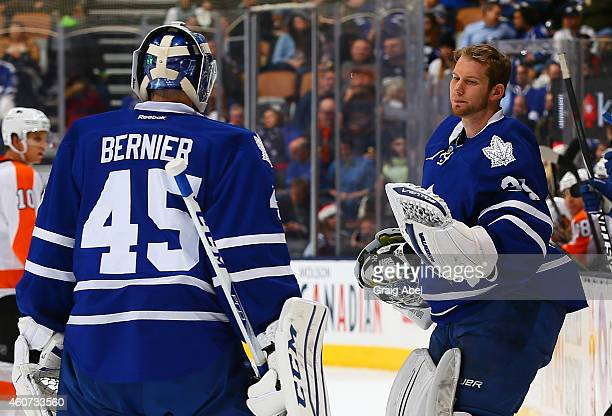 James Reimer replaces Jonathan Bernier of the Toronto Maple Leafs during action against the Philadelphia Flyers during NHL game action December 20...