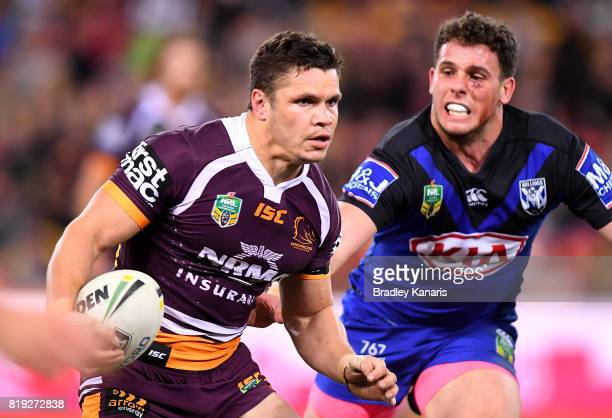 James Roberts of the Broncos breaks away from the defence during the round 20 NRL match between the Brisbane Broncos and the Canterbury Bulldogs at...