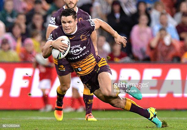 James Roberts of the Broncos breaks through the defence during the NRL Elimination Final match between the Brisbane Broncos and the Gold Coast Titans...