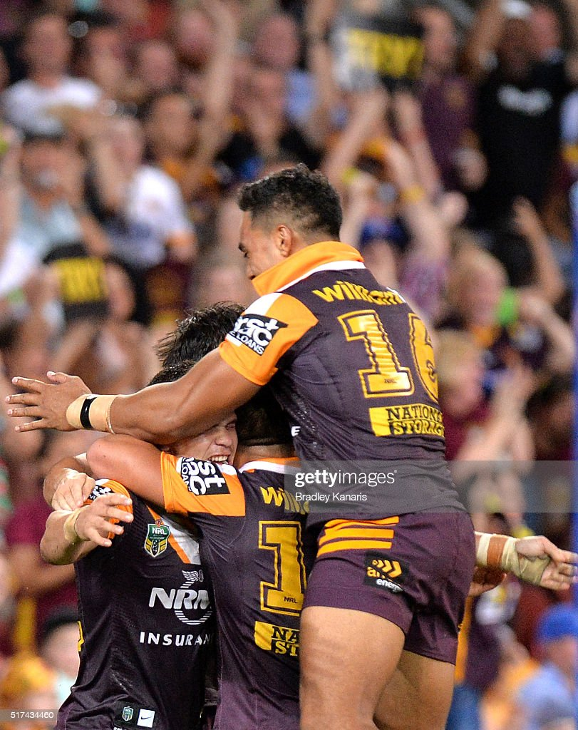 James Roberts of the Broncos celebrates scoring a try during the round four NRL match between the Brisbane Broncos and the North Queensland Cowboys at Suncorp Stadium on March 25, 2016 in Brisbane, Australia.