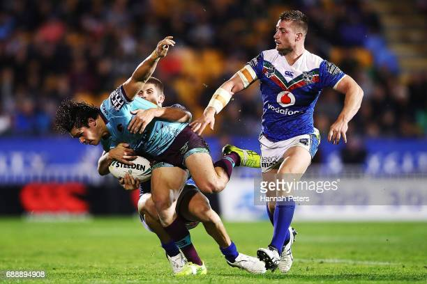 James Roberts of the Broncos charges forward during the round 12 NRL match between the New Zealand Warriors and the Brisbane Broncos at Mt Smart...