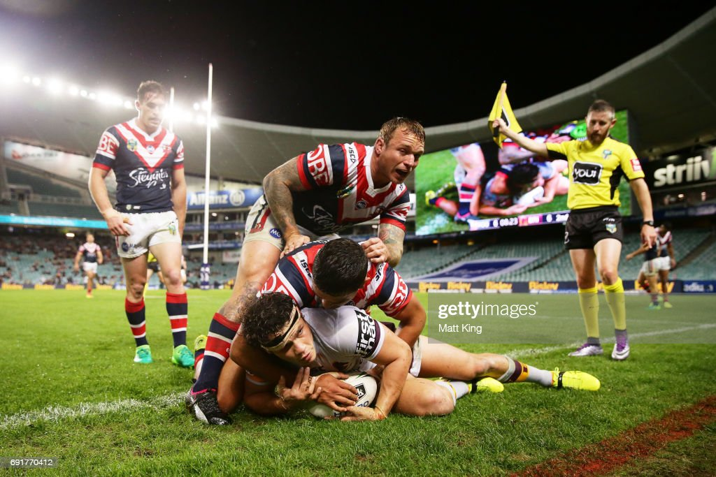 James Roberts of the Broncos is tackled over the sideline during the round 13 NRL match between the Sydney Roosters and the Brisbane Broncos at Allianz Stadium on June 3, 2017 in Sydney, Australia.