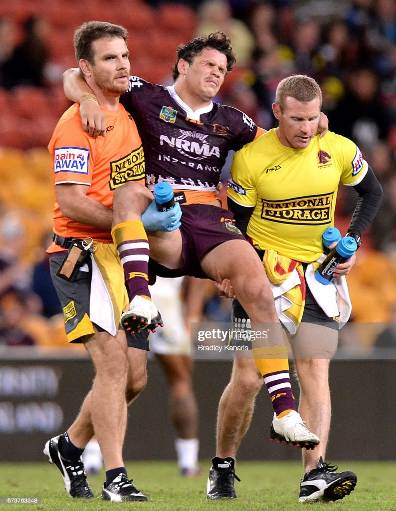 James Roberts of the Broncos is taken from the field injured during the round nine NRL match between the Brisbane Broncos and the Penrith Panthers at Suncorp Stadium on April 27, 2017 in Brisbane, Australia.