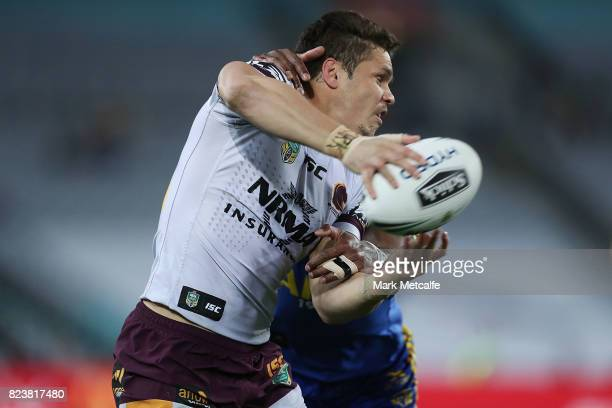 James Roberts of the Broncos passes during the round 21 NRL match between the Parramatta Eels and the Brisbane Broncos at ANZ Stadium on July 28 2017...