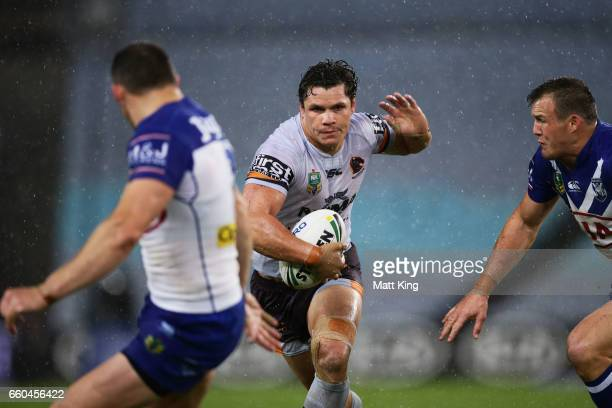 James Roberts of the Broncos takes on the defence during the round five NRL match between the Canterbury Bulldogs and the Brisbane Broncos at ANZ...