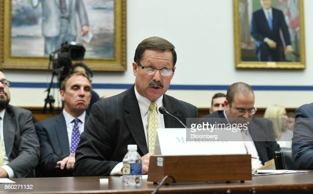 James Roberts president and chief executive officer of Granite Construction Inc speaks during a House Transportation Committee hearing in Washington...