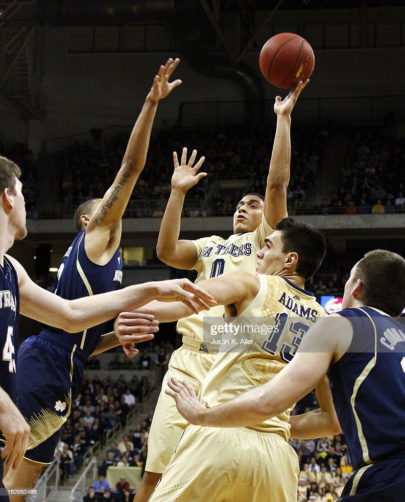 James Robinson #0 of the Pittsburgh Panthers pulls up for a shot against the Notre Dame Fighting Irish at Petersen Events Center on February 18, 2013 in Pittsburgh, Pennsylvania. Irish won 51-42.