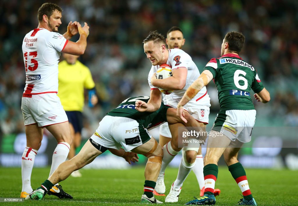 James Roby of England is tackled during the 2017 Rugby League World Cup match between England and Lebanon at Allianz Stadium on November 4, 2017 in Sydney, Australia.