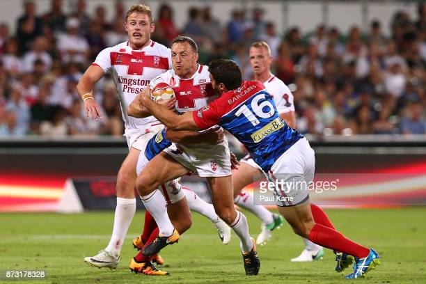 James Roby of England runs the ball during the 2017 Rugby League World Cup match between England and France at nib Stadium on November 12 2017 in...