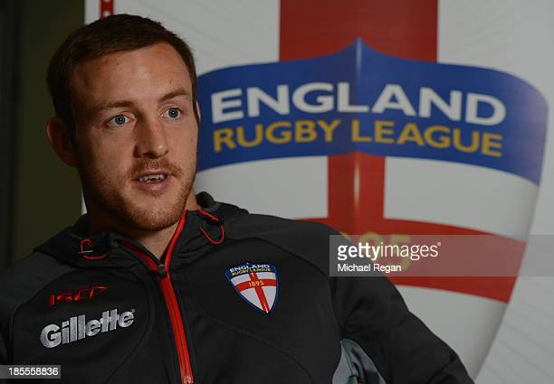 James Roby of England speaks to the media during the England press conference ahead of the Rugby League World Cup on October 22 2013 in Loughborough...