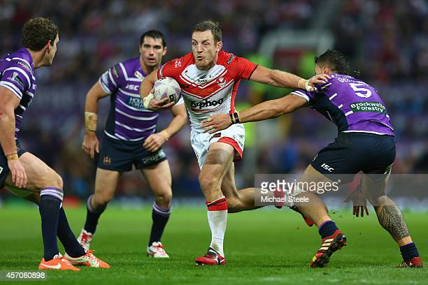 James Roby of St Helens holds off Anthony Gelling of Wigan during the First Utility Super League Grand Final match between St Helens and Wigan...