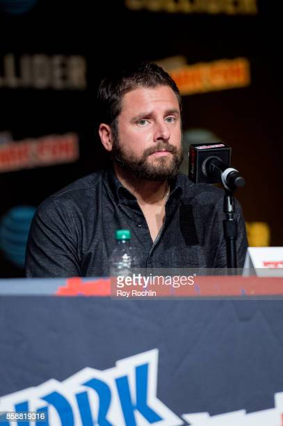 James Roday speaks at the 'Psych' reunion and movie sneak peek panel during 2017 New York Comic Con Day 3 at Javitz Center on October 7 2017 in New...