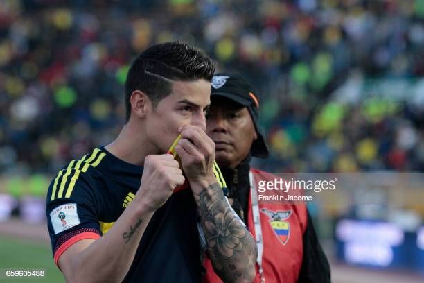 James Rodríguez of Colombia celebrates after a match between Ecuador and Colombia as part of FIFA 2018 World Cup Qualifiers at Atahualpa Olympic...