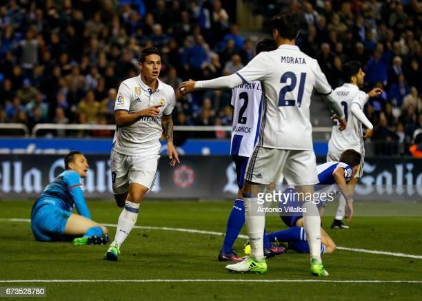 James Rodriguez and Alvaro Morata of Real Madrid celebrates after scoring goal whit his teammates during the La Liga match between RC Deportivo La...
