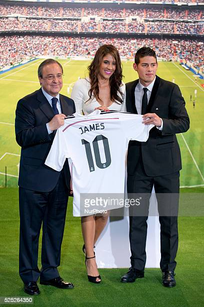 James Rodriguez and his wife Daniela Ospina during his unveiling as a new Real Madrid player at the Santaigo Bernabeu stadium on July 22 2014 in...