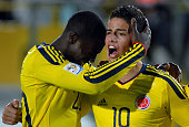 James Rodriguez and Jose Valencia of Colombia celebrate a scored goal against France as part a match of group A of Sub20 World Cup 2011 at Nemesio...