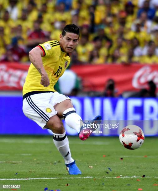 James Rodriguez if Colombia passes the ball during a match between Colombia and Bolivia as part of FIFA 2018 World Cup Qualifiers at Metropolitano...