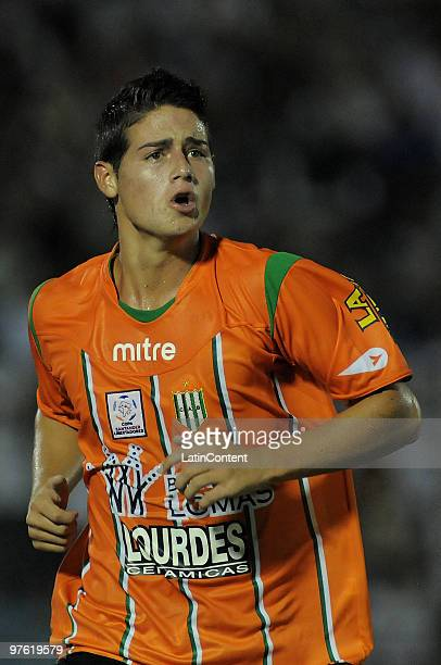 James Rodriguez of Argentinas Banfield celebrates scored goal against Uruguays Nacional during a match as part of the Santander Libertadores Cup 2010...
