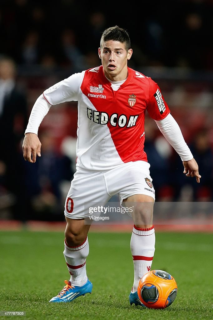 <a gi-track='captionPersonalityLinkClicked' href=/galleries/search?phrase=James+Rodriguez&family=editorial&specificpeople=4422074 ng-click='$event.stopPropagation()'>James Rodriguez</a> of AS Monaco during the France Ligue 1 match between AS Monaco and Paris Saint-Germain at Stade Louis II on february 9, 2014 in Monaco, France.