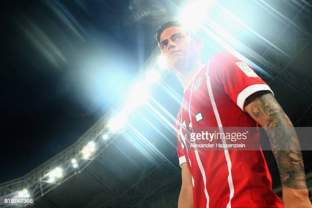 James Rodriguez of Bayern Muenchen enters the field of play for the Audi Football Summit 2017 match between Bayern Muenchen and Arsenal FC at...