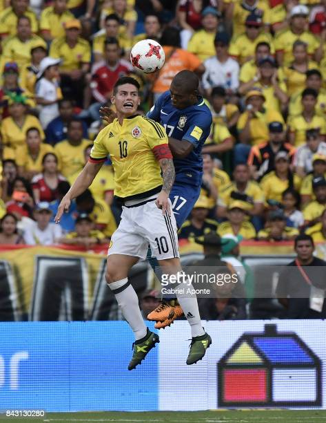 James Rodriguez of Colombia and Fernandinho of Brazil go for a header during a match between Colombia and Brazil as part of FIFA 2018 World Cup...