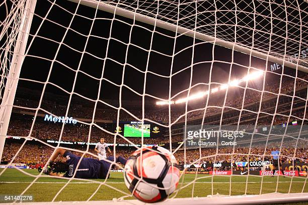 James Rodriguez of Colombia beats Pedro Gallese of Peru from the penalty spot during the penalty shoot out during the Colombia Vs Peru Quarterfinal...