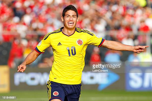 James Rodriguez of Colombia celebrates a goal during a match between Chile and Colombia as part of the South American Qualifiers for the FIFA Brazil...