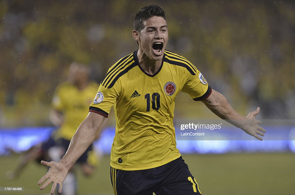 <a gi-track='captionPersonalityLinkClicked' href=/galleries/search?phrase=James+Rodriguez&family=editorial&specificpeople=4422074 ng-click='$event.stopPropagation()'>James Rodriguez</a> of Colombia celebrates a goal during a match between Colombia and Ecuador as part of the 15th round of the South American Qualifiers at Metropolitano Roberto Melendez Stadium on September 06, 2013 in Barranquilla, Colombia.