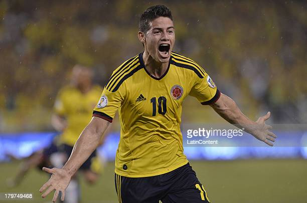 James Rodriguez of Colombia celebrates a goal during a match between Colombia and Ecuador as part of the 15th round of the South American Qualifiers...