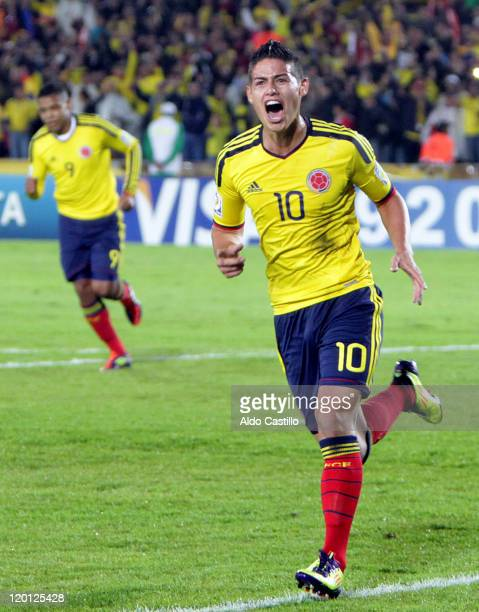 James Rodriguez of Colombia celebrates a scored goal against France as part a match of group A of Sub20 World Cup 2011 at Nemesio Camacho El Campin...