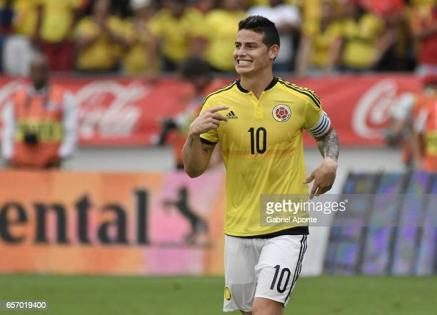 James Rodriguez of Colombia celebrates after scoring a goal to Bolivia during a match between Colombia and Bolivia as part of FIFA 2018 World Cup...