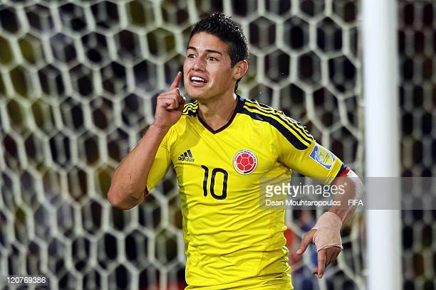 James Rodriguez of Colombia celebrates after scoring his teams third goal of the game from the penalty spot in the final minute during the FIFA U20...