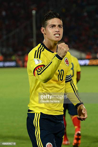 James Rodriguez of Colombia celebrates after scoring the first goal of his team during a match between Chile and Colombia as part of FIFA 2018 World...