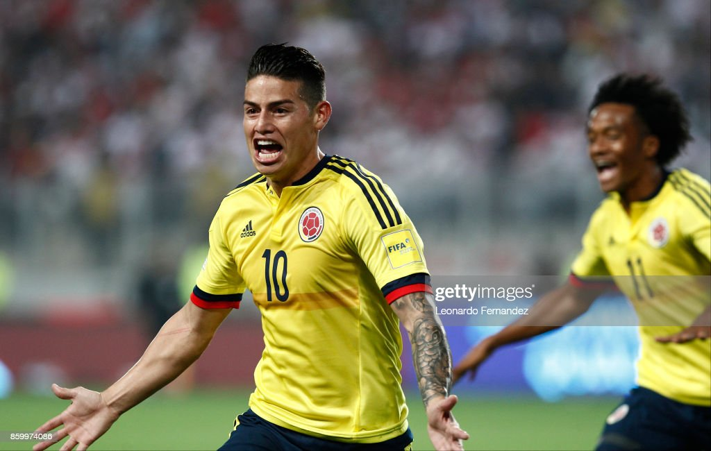 James Rodriguez of Colombia celebrates after scoring the first goal of his team during match between Peru and Colombia as part of FIFA 2018 World Cup Qualifiers at National Stadium on October 10, 2017 in Lima, Peru.
