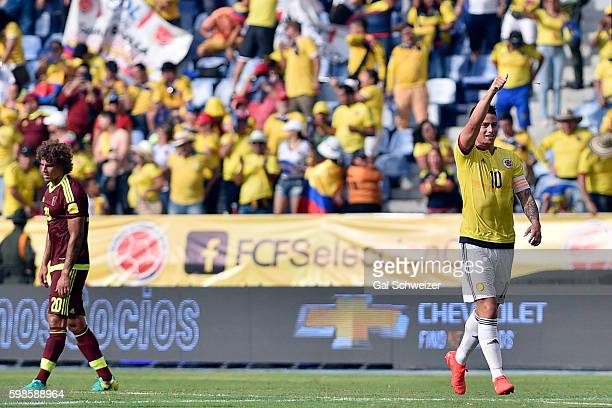 James Rodriguez of Colombia celebrates after scoring the opening goal during a match between Colombia and Venezuela as part of FIFA 2018 World Cup...