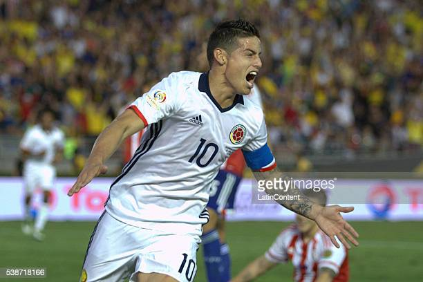 James Rodriguez of Colombia celebrates after scoring the second goal of his team during a group A match between Colombia and Paraguay at Rose Bowl...