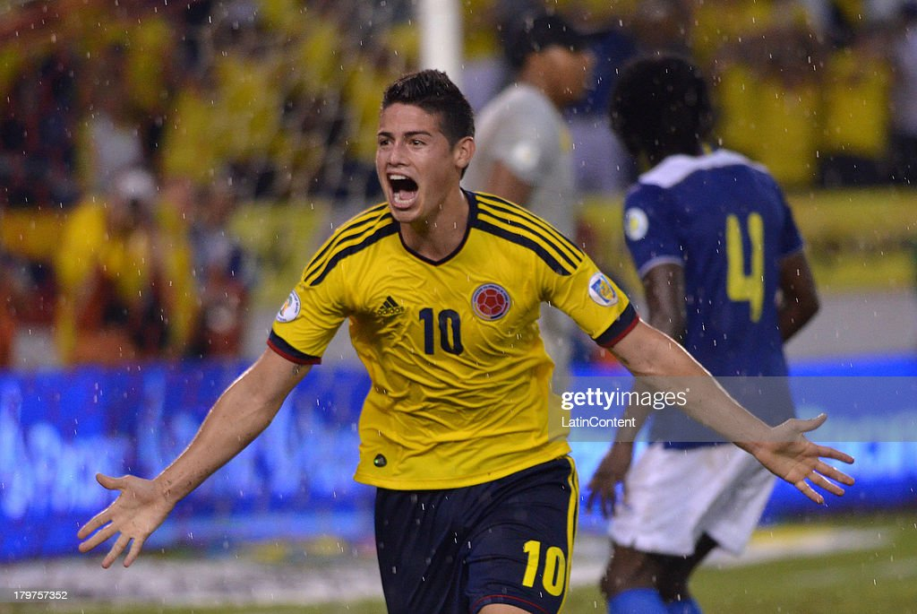 <a gi-track='captionPersonalityLinkClicked' href=/galleries/search?phrase=James+Rodriguez&family=editorial&specificpeople=4422074 ng-click='$event.stopPropagation()'>James Rodriguez</a> of Colombia celebrates score the first goal during a match between Colombia and Ecuador as part of the 15th round of the South American Qualifiers at Metropolitano Roberto Melendez Stadium on September 06, 2013 in Barranquilla, Colombia.